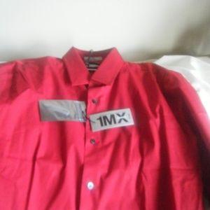 Men 1MX Dress Shirt Red size Large